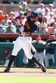 Mar 10, 2014; Scottsdale, AZ, USA; San Francisco Giants first baseman Brandon Belt against the Chicago Cubs at Scottsdale Stadium. Mandatory Credit: Mark J. Rebilas-USA TODAY Sports