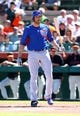 Mar 10, 2014; Scottsdale, AZ, USA; Chicago Cubs outfielder Nate Schierholtz against the San Francisco Giants at Scottsdale Stadium. Mandatory Credit: Mark J. Rebilas-USA TODAY Sports
