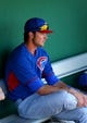 Mar 10, 2014; Scottsdale, AZ, USA; Chicago Cubs third baseman Kris Bryant prior to the game against the San Francisco Giants at Scottsdale Stadium. Mandatory Credit: Mark J. Rebilas-USA TODAY Sports