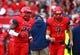 Nov 23, 2013; Tucson, AZ, USA; Arizona Wildcats running back Ka'Deem Carey (25) and quarterback B.J. Denker (7) against the Oregon Ducks at Arizona Stadium. Mandatory Credit: Mark J. Rebilas-USA TODAY Sports