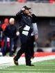 Nov 23, 2013; Tucson, AZ, USA; Oregon Ducks head coach Mark Helfrich against the Arizona Wildcats at Arizona Stadium. Mandatory Credit: Mark J. Rebilas-USA TODAY Sports