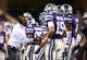 Dec 28, 2013; Tempe, AZ, USA; Kansas State Wildcats wide receivers coach Andre Coleman (left) against the Michigan Wolverines during the Buffalo Wild Wings Bowl at Sun Devil Stadium. Kansas State defeated Michigan 31-14. Mandatory Credit: Mark J. Rebilas-USA TODAY Sports