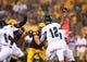 Sep 5, 2013; Tempe, AZ, USA; Sacramento State Hornets quarterback Garrett Safron (12) against the Arizona State Sun Devils at Sun Devil Stadium. Mandatory Credit: Mark J. Rebilas-USA TODAY Sports