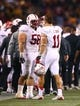 Dec 7, 2013; Tempe, AZ, USA; Stanford Cardinal defensive tackle David Parry (58) and linebacker Shayne Skov (11) against the Arizona State Sun Devils at Sun Devil Stadium. Stanford defeated Arizona State 38-14. Mandatory Credit: Mark J. Rebilas-USA TODAY Sports