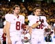 Dec 7, 2013; Tempe, AZ, USA; Stanford Cardinal quarterback Kevin Hogan (8) and tight end Eddie Plantaric (96) against the Arizona State Sun Devils at Sun Devil Stadium. Stanford defeated Arizona State 38-14. Mandatory Credit: Mark J. Rebilas-USA TODAY Sports