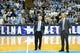 Jan 16, 2017; Chapel Hill, NC, USA; North Carolina Tar Heels head coach Roy Williams with announcer Jones Angell during a celebration after Williams 800th coaching victory. The Tar Heels defeated Syracuse Orange 85-68 at Dean E. Smith Center. Mandatory Credit: Bob Donnan-USA TODAY Sports