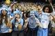 Jan 16, 2017; Chapel Hill, NC, USA; North Carolina Tar Heels fans cheer in the first half at Dean E. Smith Center. Mandatory Credit: Bob Donnan-USA TODAY Sports