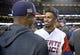 Mar 22, 2017; Los Angeles, CA, USA; Puerto Rico infielder Francisco Lindor (12) speaks with USA pitcher Marcus Stroman (6) following the final of the 2017 World Baseball Classic at Dodger Stadium. Mandatory Credit: Gary A. Vasquez-USA TODAY Sports